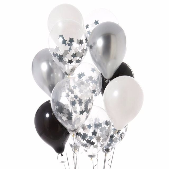 "12pcs 12""Star Metallic Black silver confetti  balloons  Black White Ballon for New Year Baby Birthday Wedding Party Decoration"