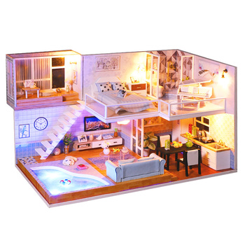 CUTEBEE DIY Doll House Wooden Doll Houses Miniature Dollhouse Furniture Kit with LED Toys for children Christmas Gift L023 Other Infant Toys