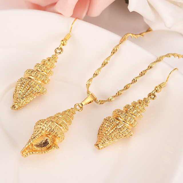 New Solid Gold GF jewelry heavy Shell Pendant Necklaces earrings for Women,Papua New Guinea girls kids party Jewelry PNG gift