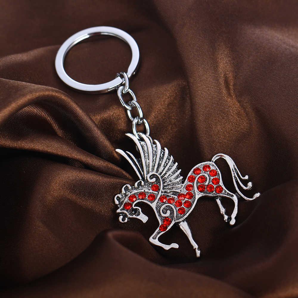 الحصان بيغاسوس الحصان الطائر مفتاح سلسلة المفاتيح الكريستال سحر قلادة فضية مجوهرات النساء الرجال هدايا عيد