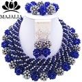 2017 Мода Нигерии Свадьба африканские бусы комплект ювелирных изделий blue Crystal ожерелье браслет серьги Бесплатная доставка VV-225