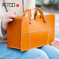 AETOO Hand stitched single shoulder bag tree ointment leather lady bag