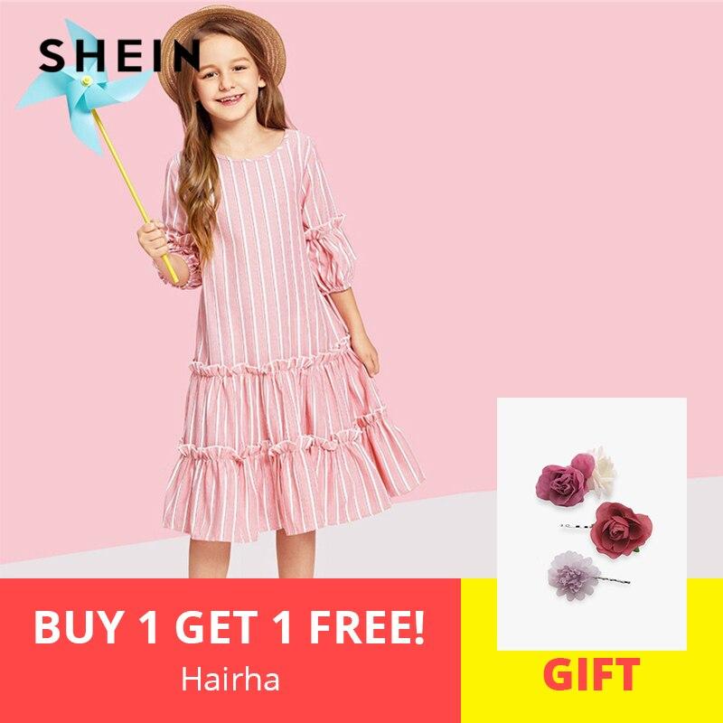 SHEIN Kiddie Pink Lantern Sleeve Layered Ruffle Striped Button Elegant Girls Dress 2019 Summer Cute A Line Casual Kids Dresses ruffle sleeve gingham dress