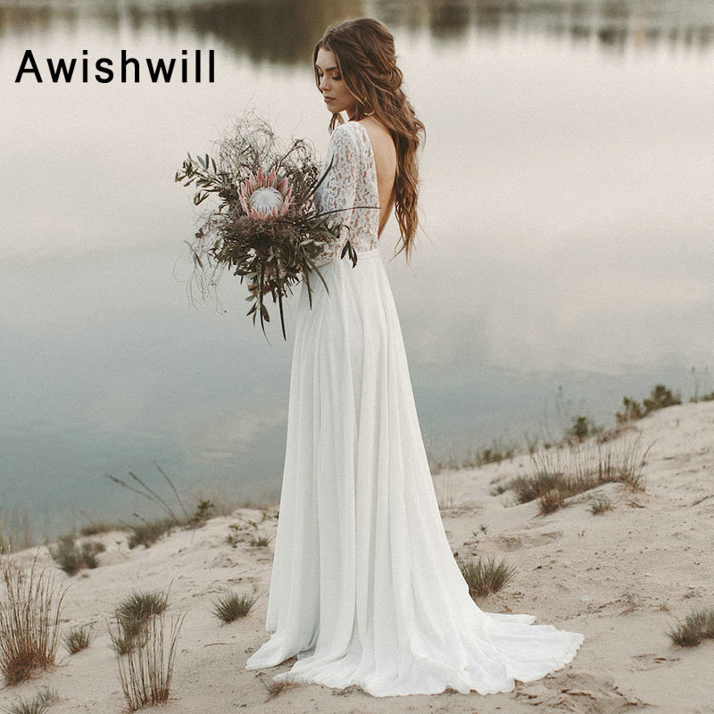 Nouveauté col en v dentelle mousseline de soie dos ouvert bohème robe de mariée élégante à manches longues Boho robe de mariée 2019