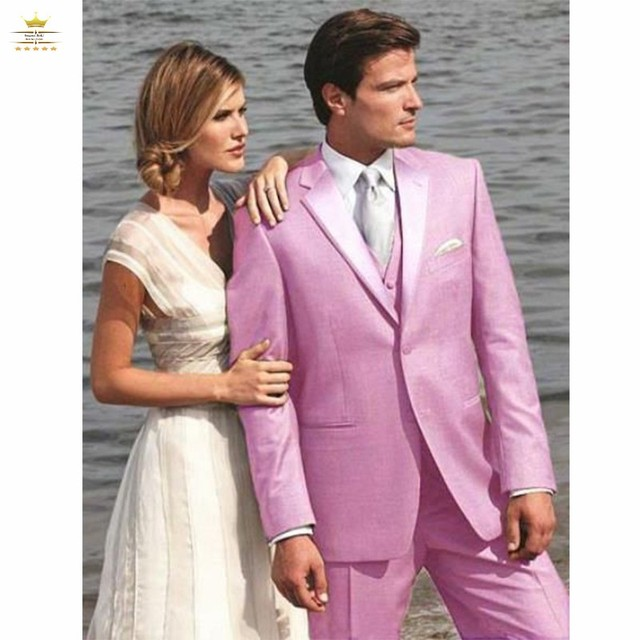 Dos botones Rosa novio Esmoquin groomsmen hombres boda prom Trajes ...