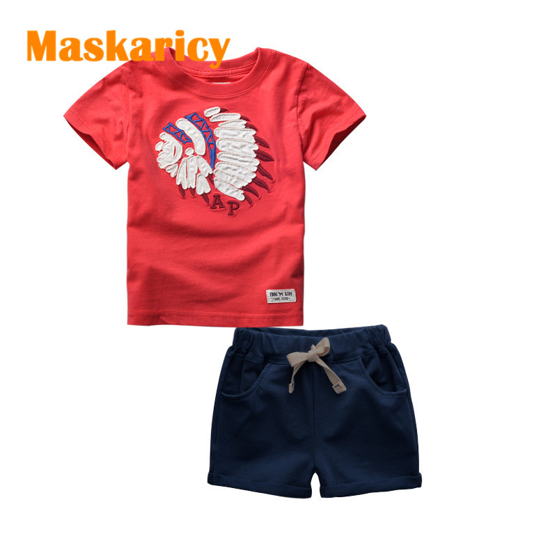 New Summer Fashion Kids Short Sleeve T-shirt and shorts Suit Children's Clothing Cartoon Pattern Boys Clothes Set Tracksuit 2017 new style fashion mom and girls short sleeve letter t shirt dot black skirt set summer kids casual clothes parenting 17f222