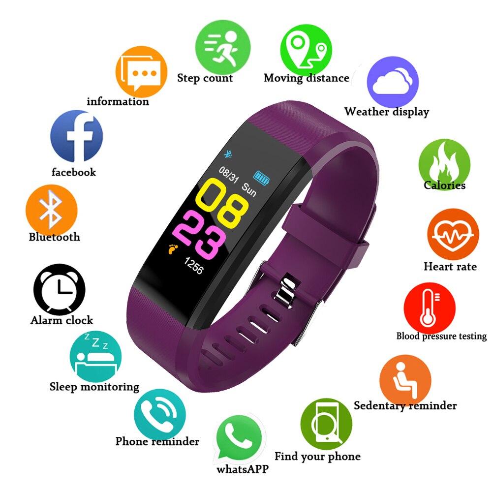 GEJIAN inteligente pulsera de Fitness de presión arterial podómetro deporte pulsera reloj de las mujeres de los hombres para Android IOS