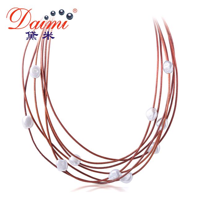 Daimi 9-10mm colar de pérolas robusto 7 camadas natural branco barroco pérola colar gargantilha new real pérola moda jóias