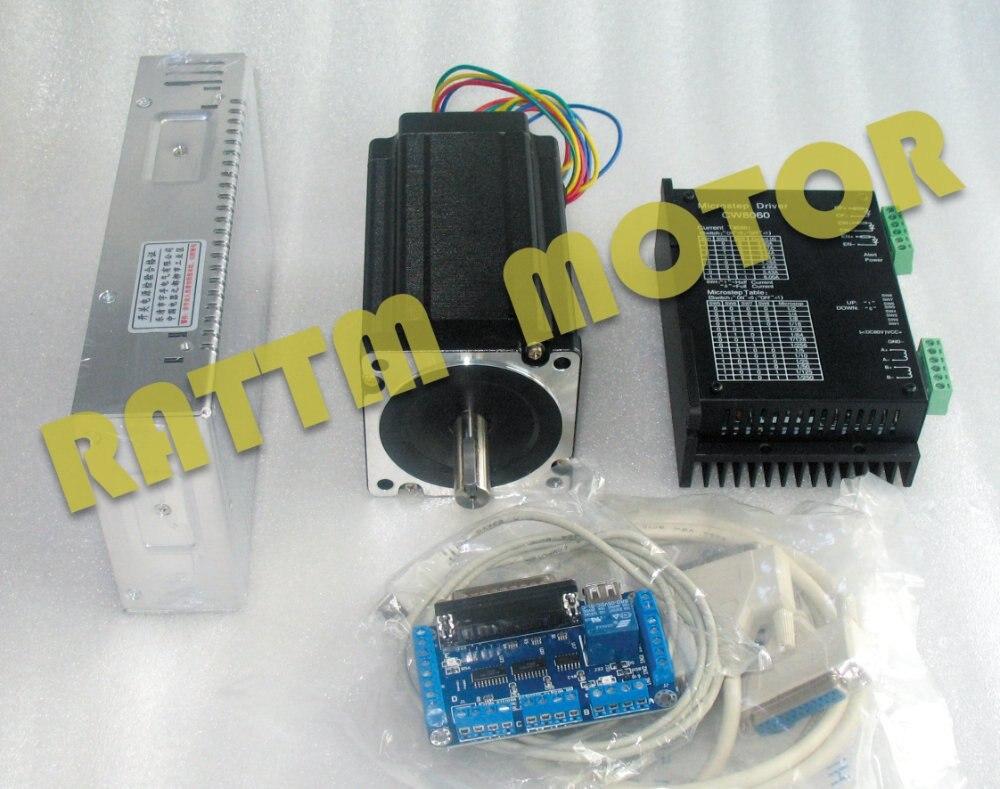 цена на 1Axis Nema34 CNC Stepper Motor (Dual shaft)154mm/ 1600oz-in/5.0A & Driver 6A/80VDC 256 Microstep