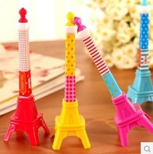 Free shipping 20pcs/lot South Korea creative stationery three-dimensional iron tower modeling pen  lovely gift