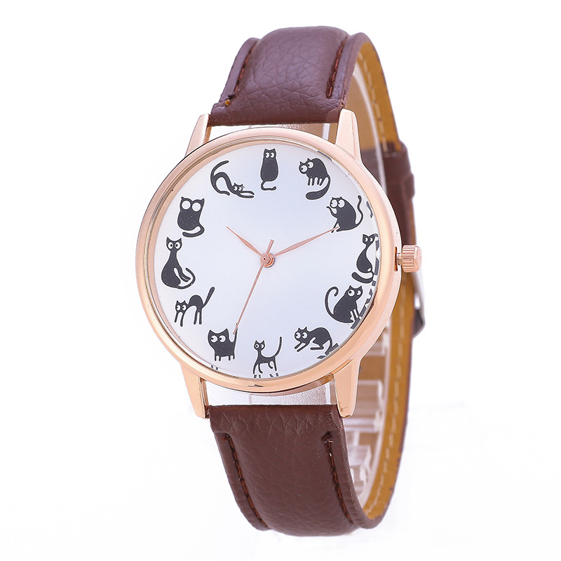 Fashion Casual Womens Quartz Wristwatches Leather Womens Bracelet Watches Lovely Cats Relogio Feminino Grils Childrens Gift