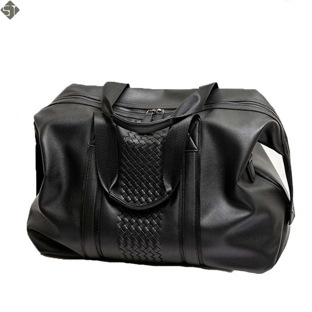 New Men Travel Duffle Bag PU Leather Mens Travel Bags Black Shoulder Handbag Round Bucket Shape Messenger Bag Tote
