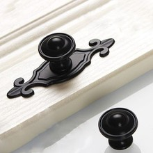 Black Knobs Drawer Handles Backplate Pulls Kitchen Cabinet / Dresser Decorative Hardware