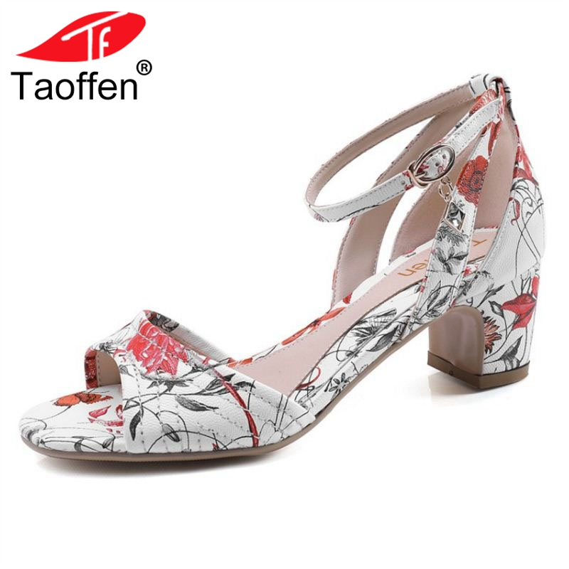 TAOFFEN Women High Heel Sandals Open Toe Ankle Strap Ladies Shoes Floral Vintage For Party Office Footwear Size 33-40 taoffen women high heel sandals open toe pleated concise slippers solid color shoes women footwear summer party size 34 39
