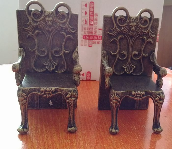 2 Antique Cast Iron Chairs Shape Bookend Book End Stand Quality Heavy - Home Decor