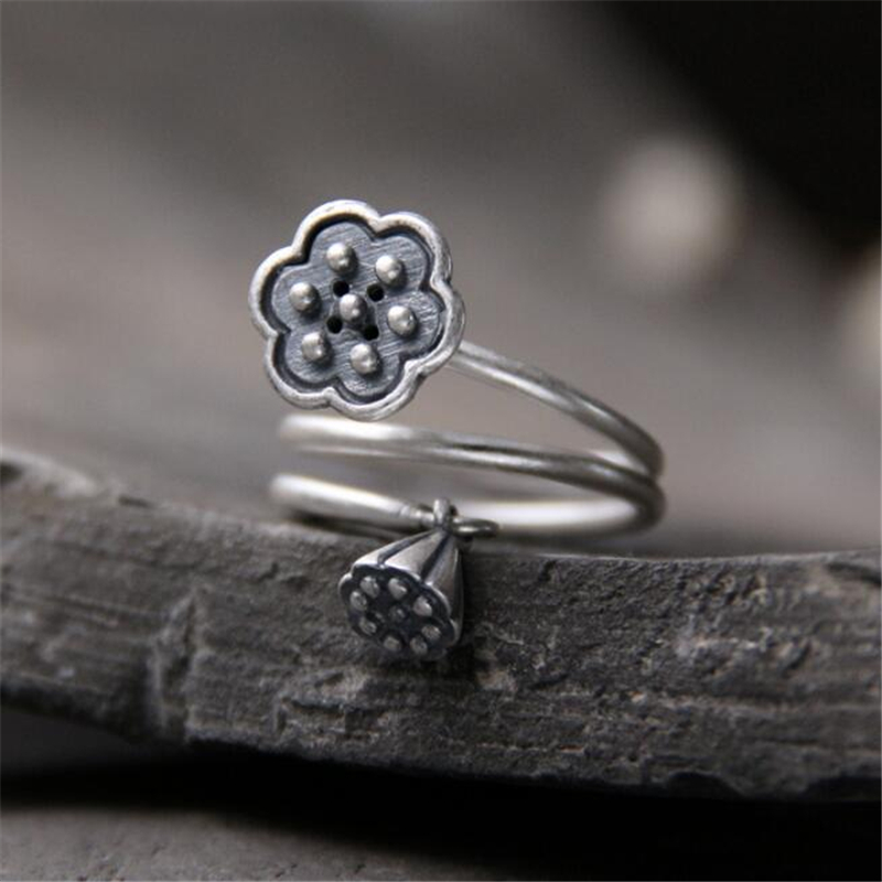 Vintage 100% Real 999 Sterling Silver Seedpod of The Lotus Open Finger Rings Women Fine Jewelry Gift 1.80mm