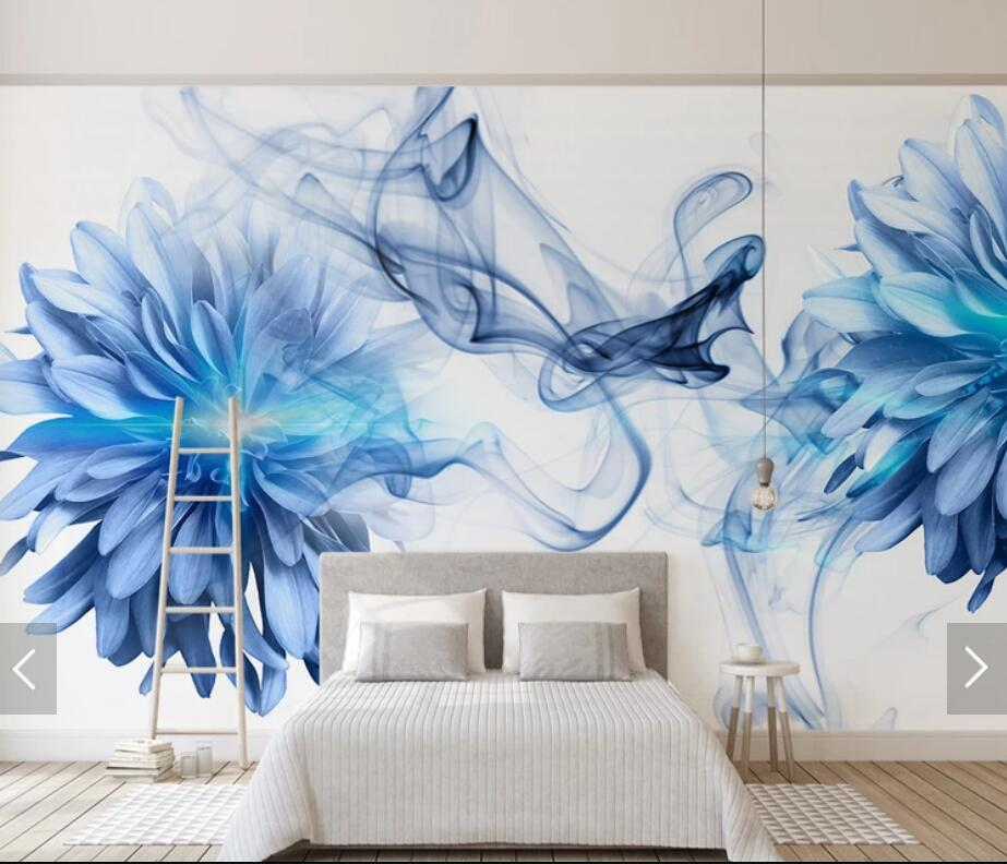 3D Abstract Blue Flower Wallpaper Mural HD Printed Photo