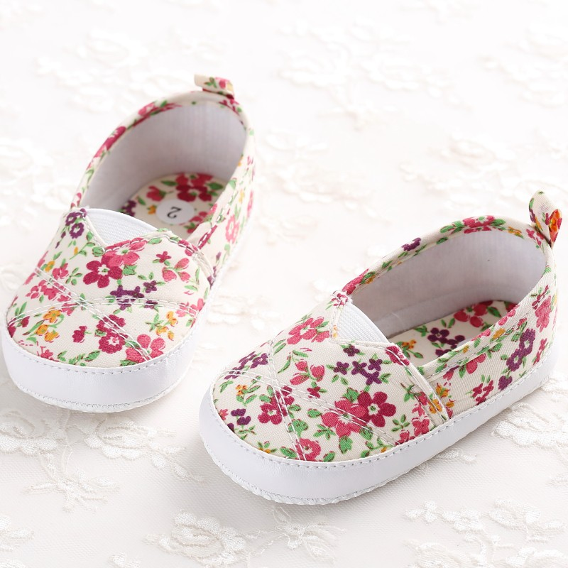 0-1 Years Baby Girls Floral Print Old Baby Shoes Soft Soles Learning To Walk Shoes First Walkers Baby Moccasins 0-1 Years J2