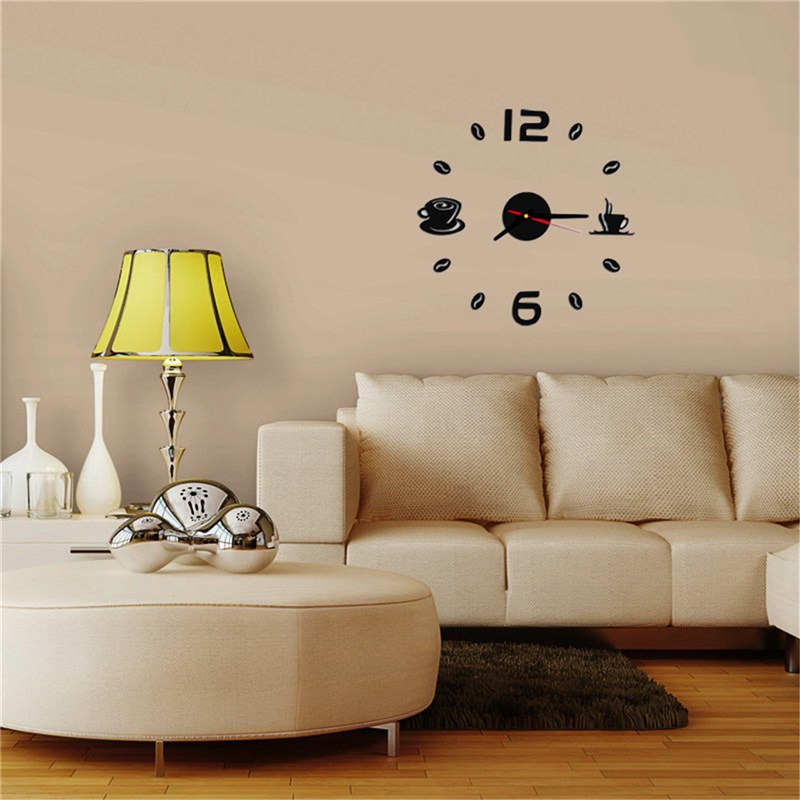 Charminer Coffee Cups Kitchen Wall Art 3d Diy Wall Clocks Mirror