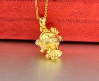 Новый 24 К желтый золотой кулон/счастливый обезьяна девочка кулон/3.39 г
