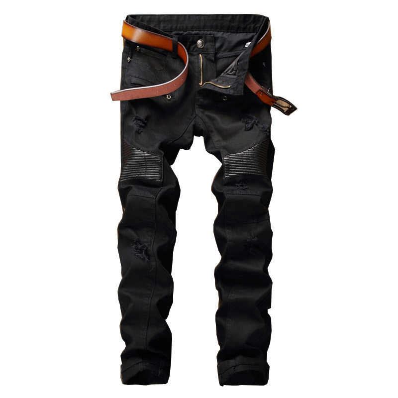 Mcikkny New Fashion Men's Pu Leather Jeans Pants Slim Patchwork Denim Trousers Male Straight Casual Jeans Pants Black