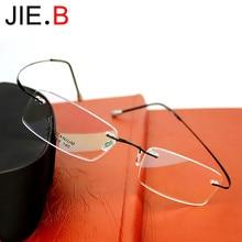 New rimless glasses titanium ultra light men and women flat mirror