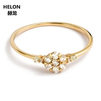 Solid 14k Yellow Gold Natural Diamonds Ring Engagement Wedding Ring for Women Fine Jewelry Anniversary Party Gift Trendy