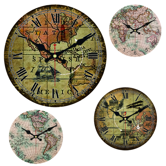World map large decorative round wall clock living room wall decor world map large decorative round wall clock living room wall decor saat fashion silent vintage watch gumiabroncs Gallery