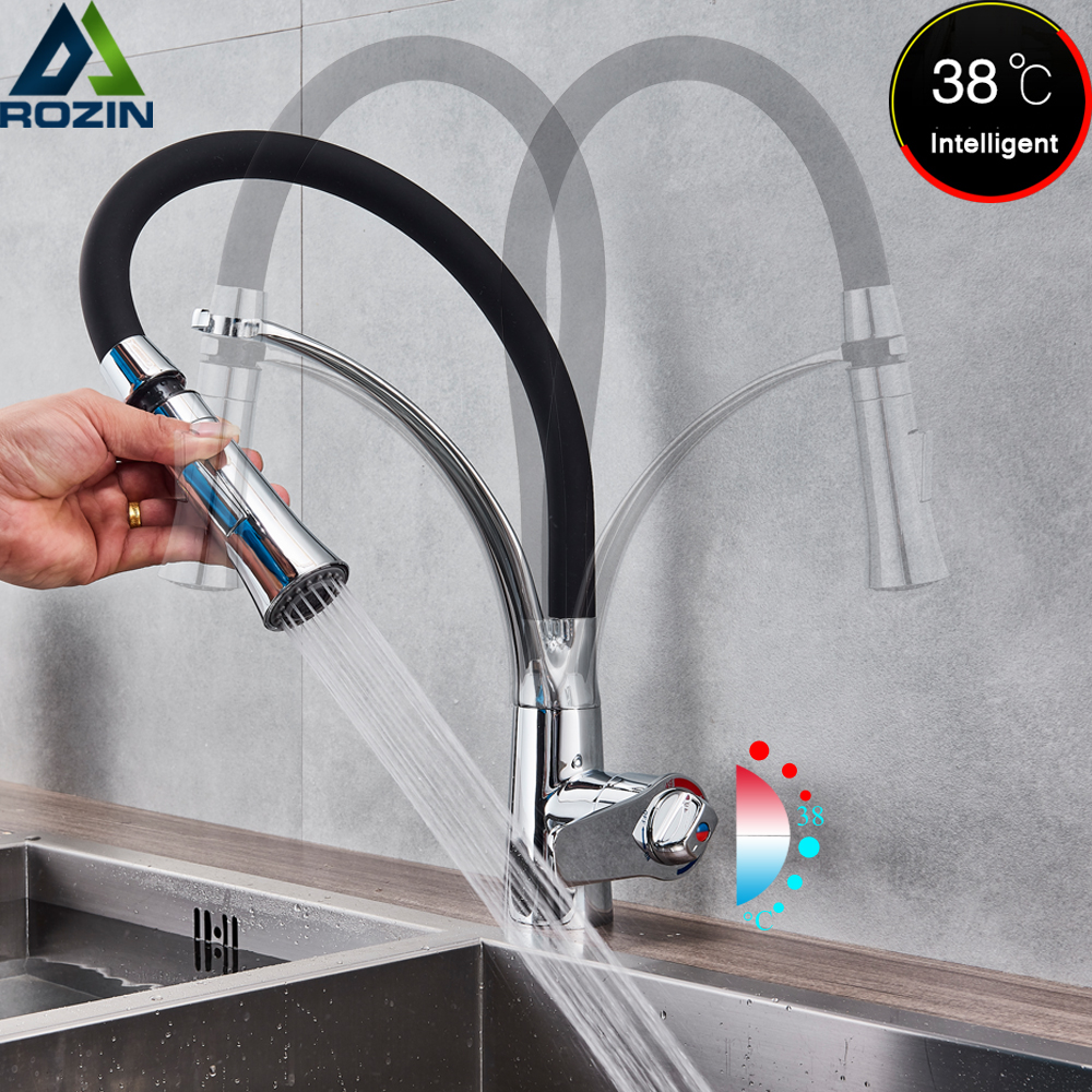 Deck Mount Black Hose Kitchen Mixer Taps Single Handle Stream Sprayer Kitchen Faucet Chrome Finish with