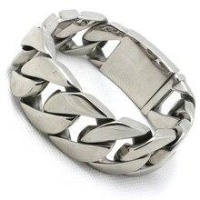 25 mm garantía 100% enorme y gruesa pulsera de plata de los brazaletes polaco hombres Biker Chain acero inoxidable