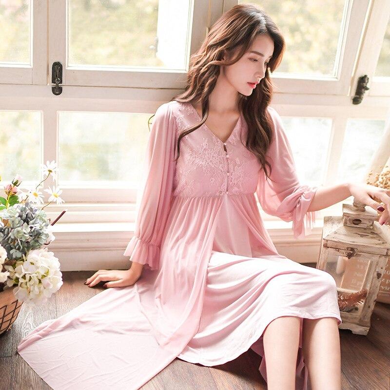 Damen-nachtwäsche Aufstrebend 2019 Neue Frauen Langarm Nachthemd Koreanische Stil Nachthemd Modell Pyjamas Süße Homewear 2 Stück Anzug Kleid Für Schlaf