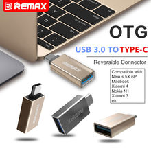 REMAX teléfono OTG TYPE-C a USB 3,0 tipo C adaptador Mini conector 3A carga rápida otg unidad flash usb para macbook Xiaomi Mi5 Mi6(China)