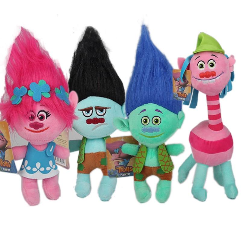 23cm Movie Trolls Plush Toy Doll Trolls Poppy Branch Dream Works Soft Stuffed Toys Action Figure Gifts for Kids Children 9 23cm super mario bros grey brick plush toy soft stuffed doll 1pcs pack