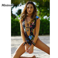 Minimalism Le 2018 Sexy Bikini One Piece Swimwear New Style Floral Backless Brazilian Biquini Summer Beach