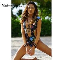 Minimalism Le 2018 Sexy Bikini One Piece Swimwear New Style Floral Backless Brazilian Biquini Summer Beach