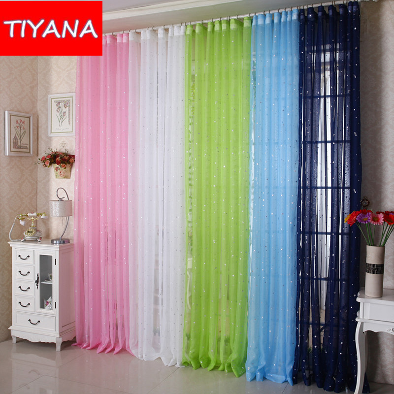 Shine star kids white curtain tulle for living room New curtain design 2017