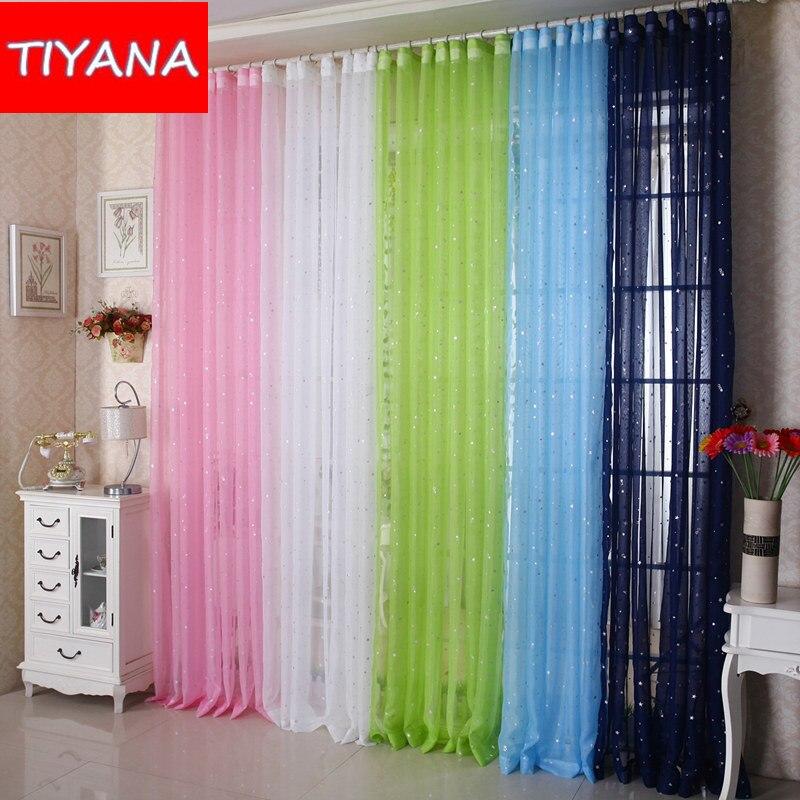 shine star kids blanco cortina de tul para la sala de cocina azul hilo de color