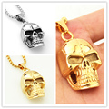Fashion Classic Silver Or Gold Tone 100% Stainless Steel Skull Heads Pendant Men's Necklace 42*22mm Jewelry 20g