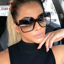 oakshion Ladies Black Oversized Sunglasses Women Men 2019 Retro Big Square Sun Glasses Brand Designer Vintage Gafas De Sol Mujer