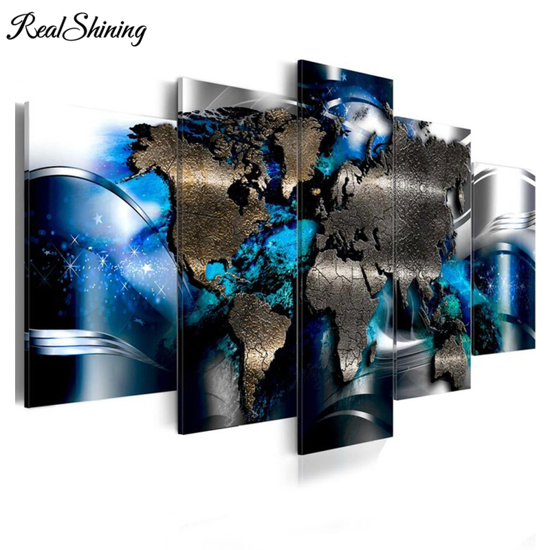 REALSHINING diamond embroidery World Map Abstract diamond painting 5 pcs full mosaic picture of rhinestones cross