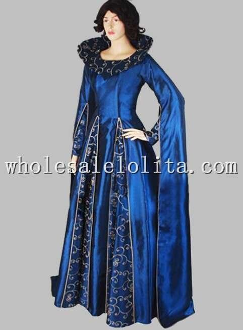 Готическое голубое платье сценический костюм в викторианском стиле с принтом