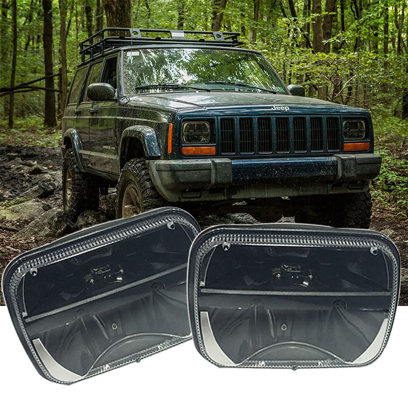 5''X7'' INCH Daymaker headlight Replaces H6014 / H6052 / H6054 / 6054 7x6 Sealed Beam Headlight for Jeep wrangler YJ Cherokee XJ 1 pair 5x7 7x6 inch rectangular sealed beam led headlight for jeep cherokee h6014 h6052 h6054 h6052 led headlight