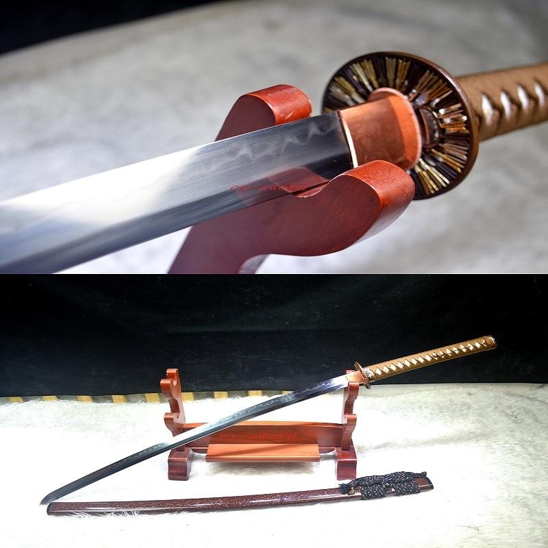 Clay Tempered T-10 Steel Japanese Samurai High Quality Brass Tsuba Katana Real Yokote Sword