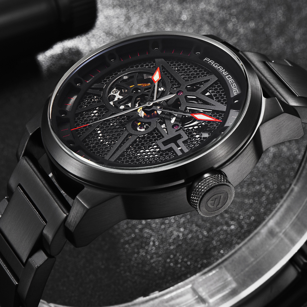 PAGANI DESIGN Fashion Stainless Steel Men Watch Skeleton Automatic Self Wind Mechanical Wristwatches Business Clock dropshipping