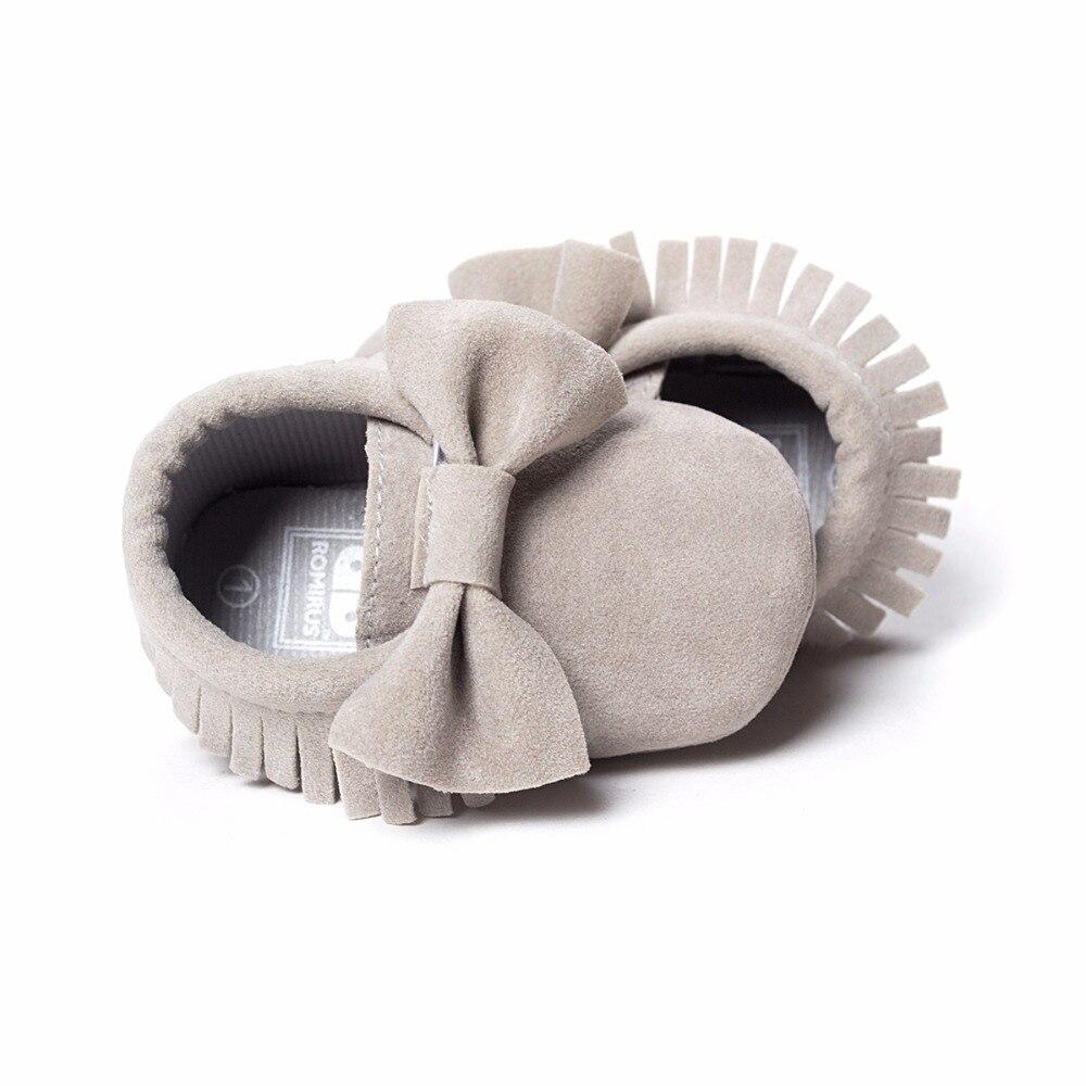 Sepatu bayi PU kulit Padat rumbai Buram, kupu-simpul Bayi Baru Lahir - Sepatu bayi - Foto 5