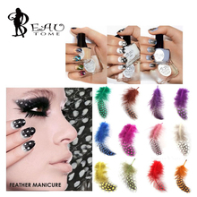 Beautome 2016 5Pcs/lot Real Pearl Feather Manicure Tools 3D Nail Sticker Design For UV Gel Nail Polish Decorations 12Colors