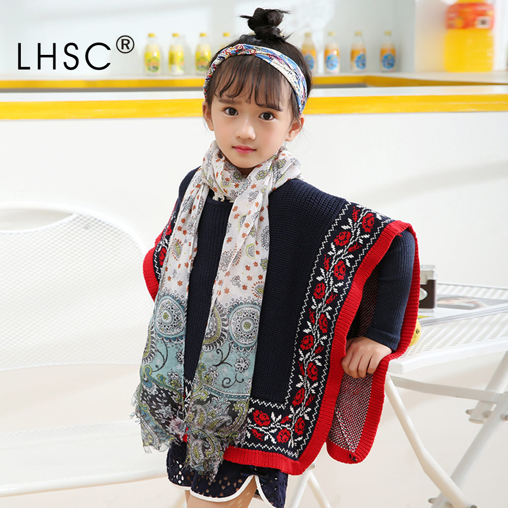 Spring Summer New Arrived China Style Chlidren Scarfs Printed Chiffon Ring Neck Girls Scarf Infinity Shawl Wrap Gentle Scarves