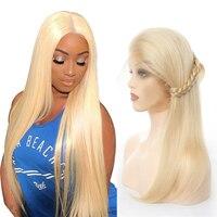 Moxika Full Lace человеческих волос парики 150% плотность Волосы remy #613 Светло русый перуанский прямые волосы парик для женщин полный и толстый