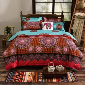 Image 2 - 4 pçs/set Bohemian Oriental Mandala conjunto beding eid lençóis fronha folha de cama Colcha Conjunto Capa de Edredon Folha Plana jogo de cama