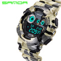 SANDA Brand Waterproof Shock Resistant Sport Camouflage Mens PU Outdoor Led Digital Watch Military G Style Wristwatches Gift Box